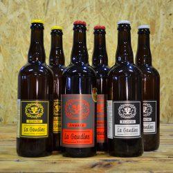 Coffret Authentique regroupant 6x75cl bouteilles de bières artisanales La Gaudine