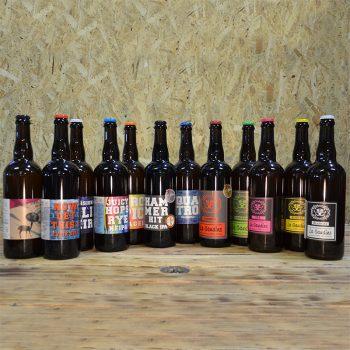 Coffret Kit de Survie de 12x75cl bouteilles de bières artisanales. S'adapte selon les nouveautés.